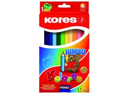 12476 2 pastelky kolores jumbo trojhrane 12 barev kores