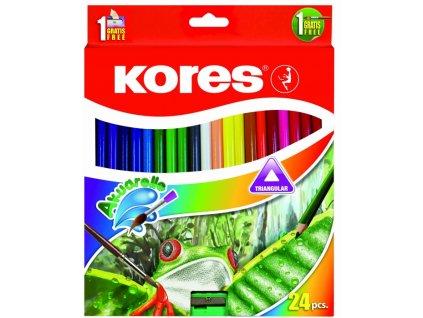12482 1 pastelky akvarelove trojhrane 24 barev kores