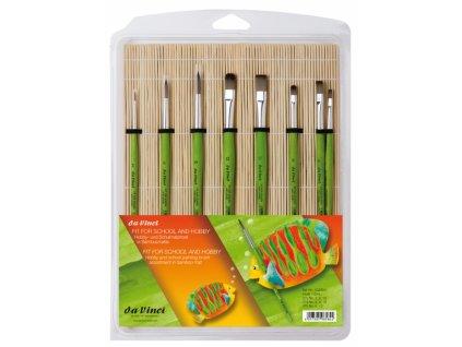 13442 stetce davinci zelene sada 8ks bambusove pouzdro