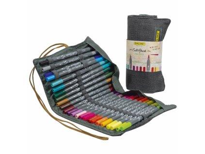 14099 4 kaligraficke popisovace callibrush set 24 barev v latkovem pouzdre