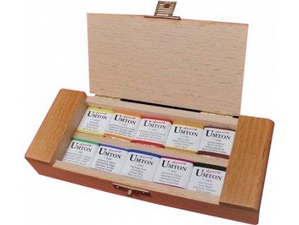 akvarelova sada umton 10 barev dreveny penalek 3
