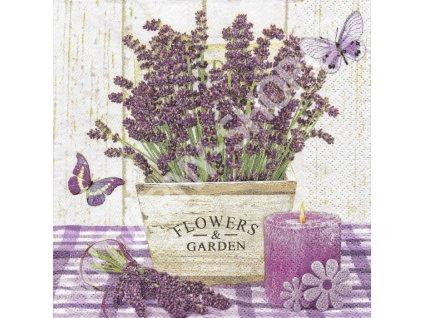 14858 ubrousek 33x33 cm lavender in a wooden pot