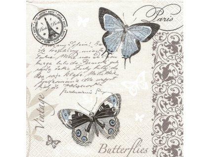 14966 ubrousek 33x33 cm butterflies postcard