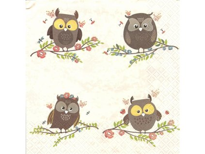 14972 ubrousek 33x33 cm brown owls on twigs
