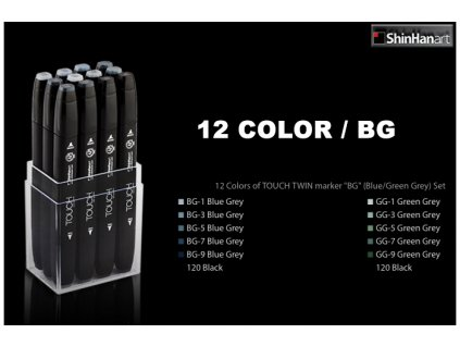 15065 1 designersky fix touch twin marker sada 12 blue green grey colors