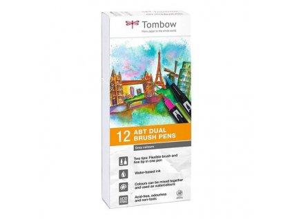 abt dual brush pen odstiny sede sada 12 ks tombow (1)