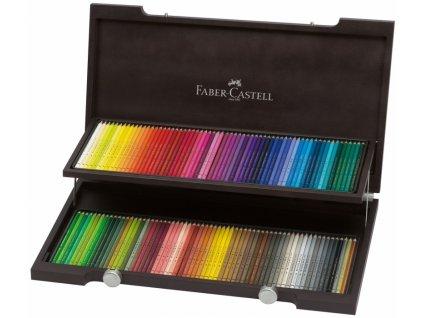 34125 polychromos 120 barev drevena kazeta