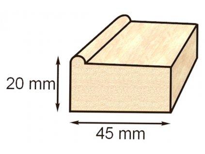 Blind rám - napínací rám smrk 45x20 mm – 110 cm