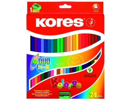 35664 pastelky trojhranne oboustranne kores duo 24 ks 48 barev