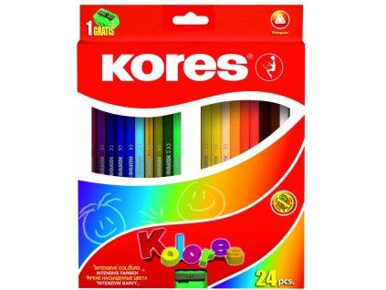 35667 trojhranne pastelky 24 barev kores