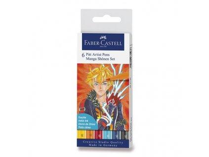 46514 umelecky popisovac pitt artist pen brush manga shonen stetcove sada 6 ks mix barev