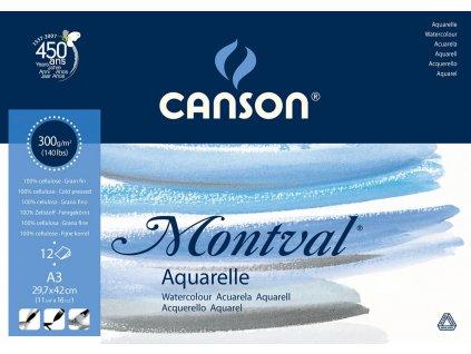 Akvarelový papír Canson Montval blok A3, 300 g, 12 listů