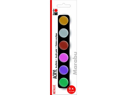 Akrylové barvy v kelímku Marabu Acrylic Paints set METALLIC 6x3,5ml