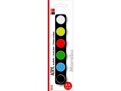 Akrylové barvy v kelímku Marabu Acrylic Paints set BASIC, 6x3,5ml