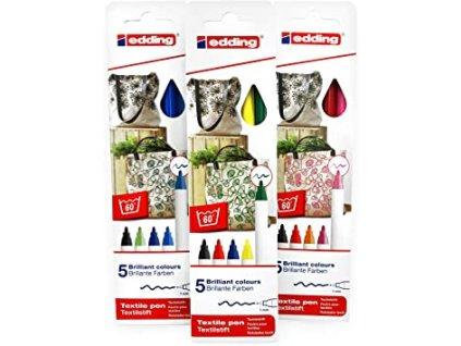 edding textile markers pens 5ks