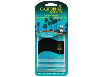 California Scents 3 Pack Paper Air Freshener - Santa Ana Sea Breeze - vůně moře, 3ks