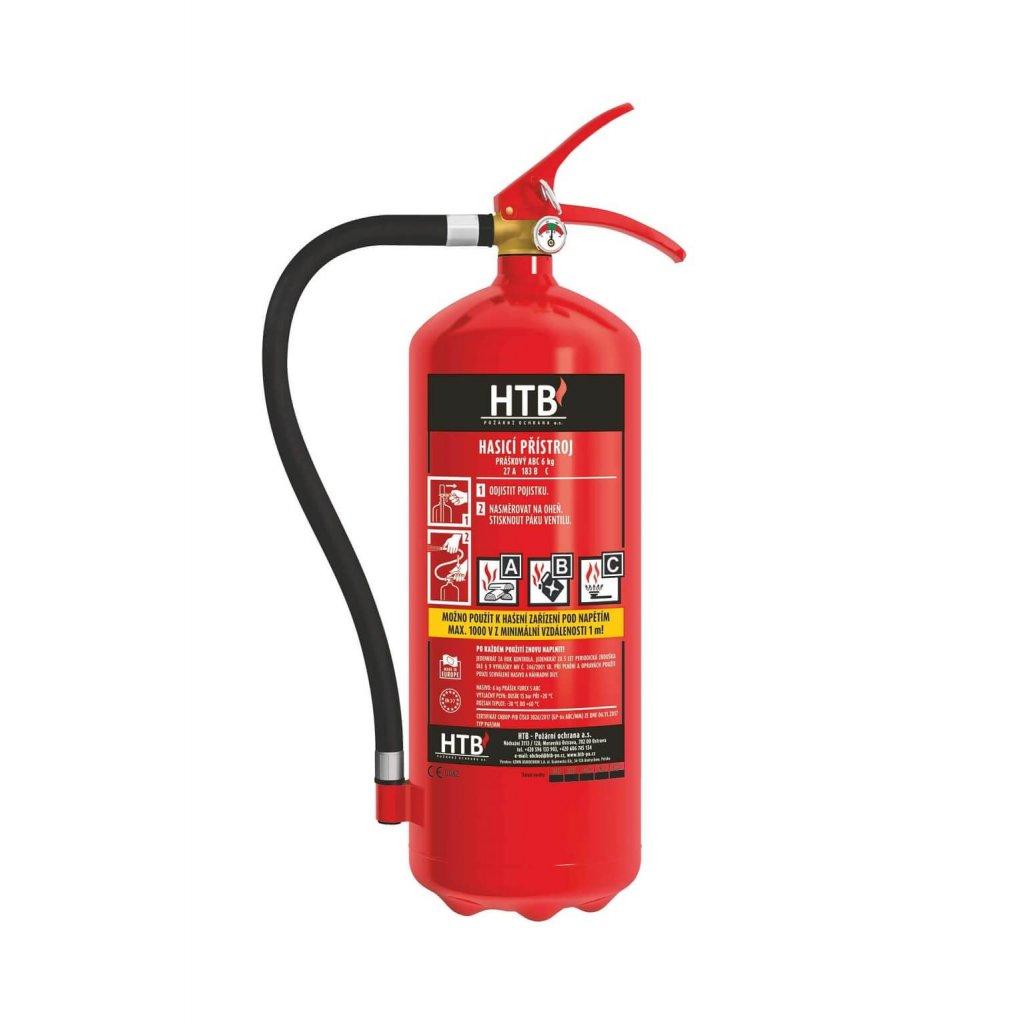 Hasicí přístroj práškový HTB, P6F/MM (mosazný ventil), 27A 183B C, včetně revizní zprávy