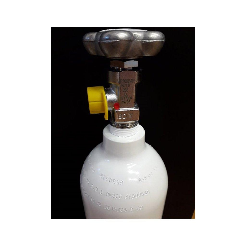 Tlaková medicinální lahev hliniková pro kyslík Luxfer - 634/1/Q, 2 L/200 bar, závit 25E, vypouštěcí ventil