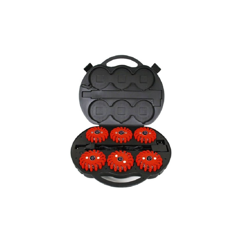 SET výstražné světlo LED Power Flash 306C v profi kufru s nabíjecím příslušenstvím