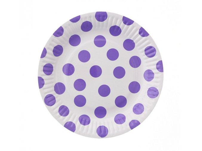 talerzyki papierowe groszki lawendowe 18 cm
