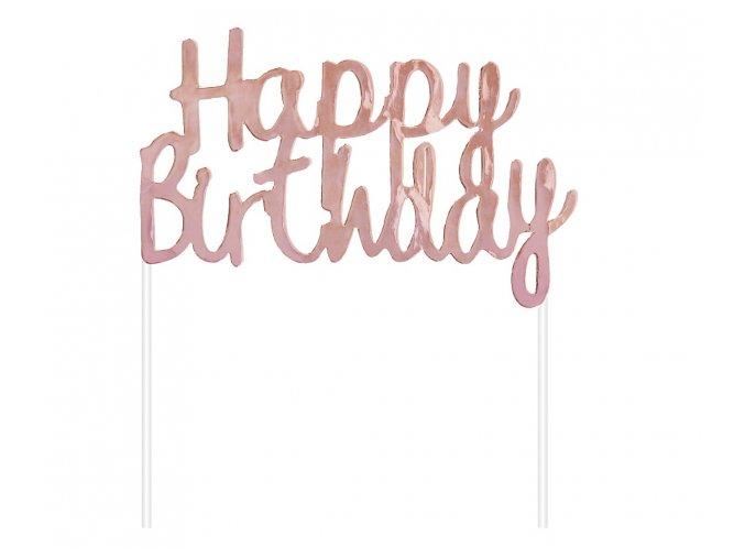 Zápich do dortu Happy Birthday rosegold