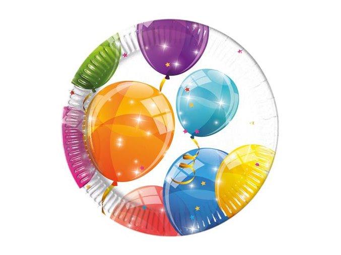 Talíře malé papírové balónky 8ks
