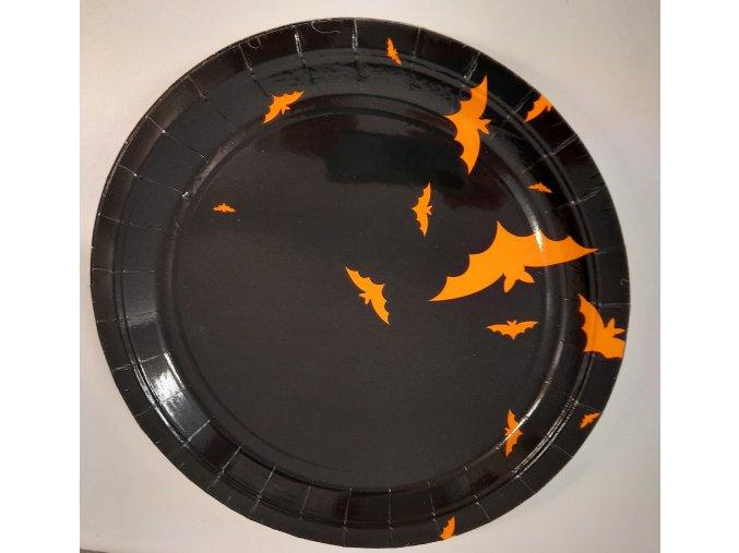 Talíře papírové velké černé s netopýry 8ks