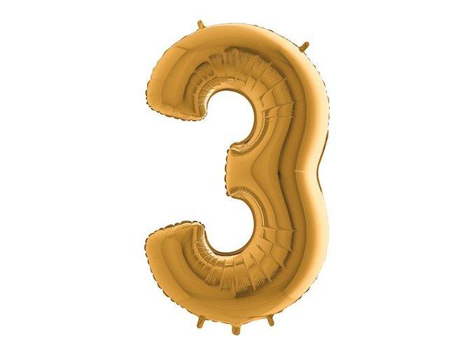 Balon foliove cislo zlate 3 71WGOLD3(2)