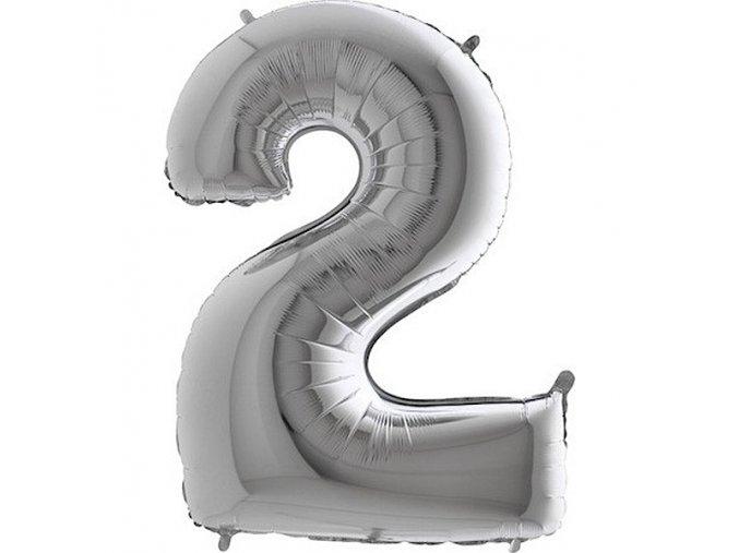 Balon foliove cislo stribrne 2 71WSILVER2
