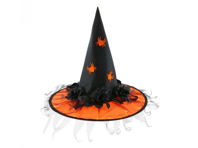 kapelusz czarownicy pomaranczowy z rozami