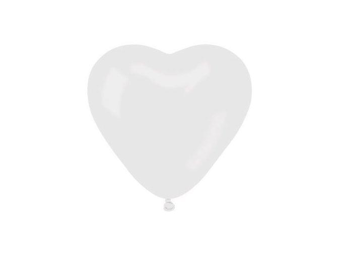 Balonek srdce bílé latexové 25 cm