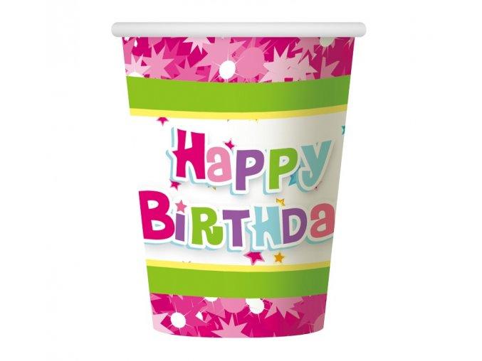 kubeczki papierowe happy birthday rozowe 270ml