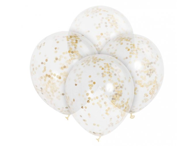 balon ze zlotym konfetti