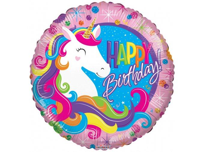 Balonek foliový Happy Birthday jednorožec duhový
