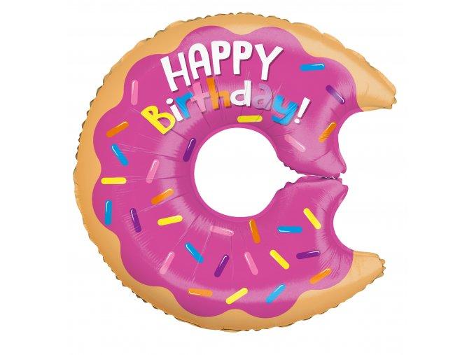 Balonek foliový Happy Birthday DONUT