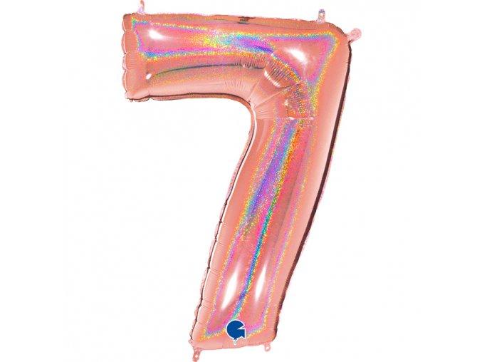837GHRG Number 7 Glitter Holographic Rose Gold