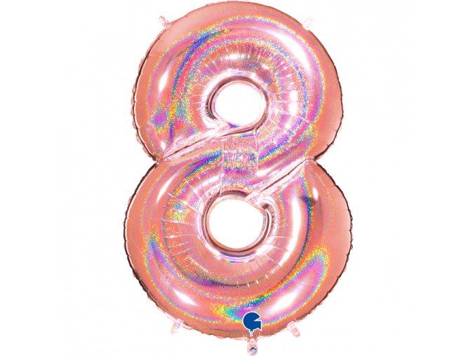 838GHRG Number 8 Glitter Holographic Rose Gold