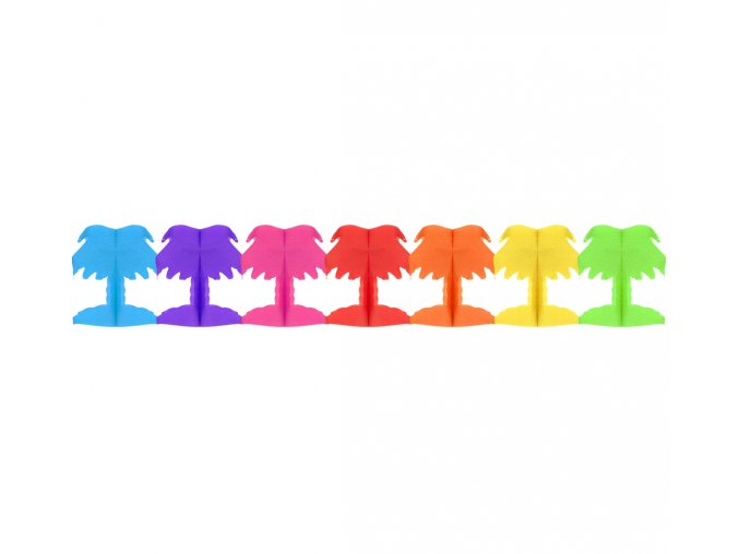 girlanda papierowa teczowe palmy 18x17x300 cm