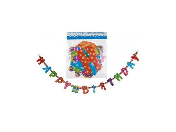 papier girlande happy birthday l ca 1 55 m 18193