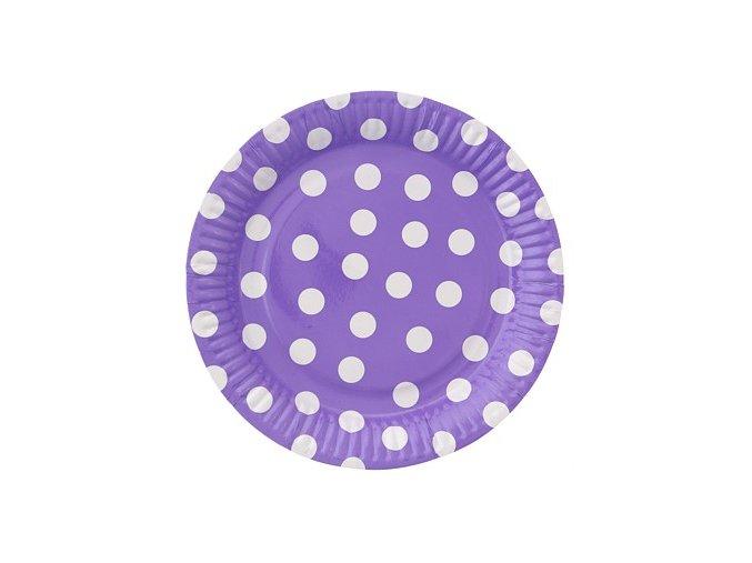 talerzyki papierowe groszki lawendowe 23 cm