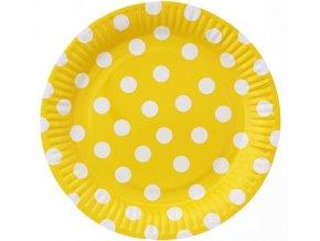 talerzyki papierowe groszki zolte 23 cm 6 sz
