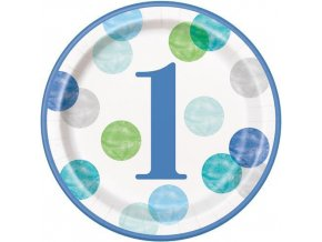 Talíře velké papírové 1.narozeniny modré 8 ks