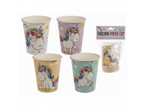 party pappbecher comic einhorn fuer ca 250 ml 16243