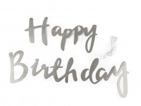 Girlanda Happy Birthday stříbrná