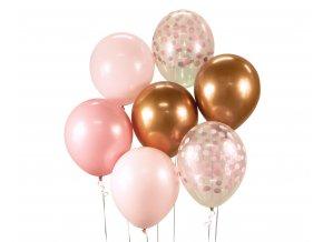 bukiet balonowy rozowo miedziany