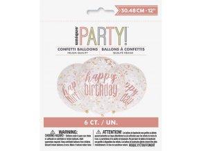 Balónky s Happy birthday - rosegold 6ks