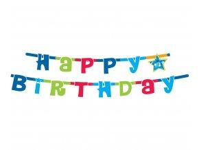 girlanda urodzinowa happy birthday niebieska