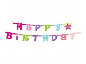 girlanda urodzinowa happy birthday rozowa