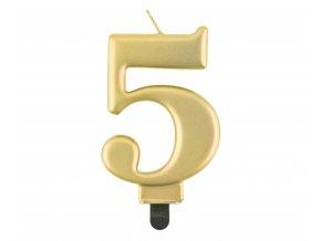 swieczka cyferka 5 metalik zlota 8 0 cm