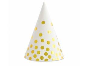 Čepičky papírové bílé se zlatými puntíkem 6ks